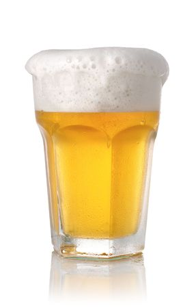 The glass of beer on white