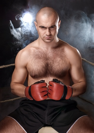 Strong fighter man   before the fight Stock Photo