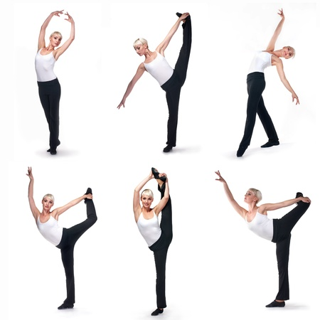 exersice: Collage of dance exersice. Young beautiful woman on white background  Stock Photo