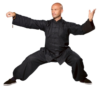 The man does an element tai-chi Stock Photo