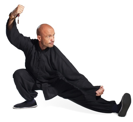 The man does an element tai-chi photo