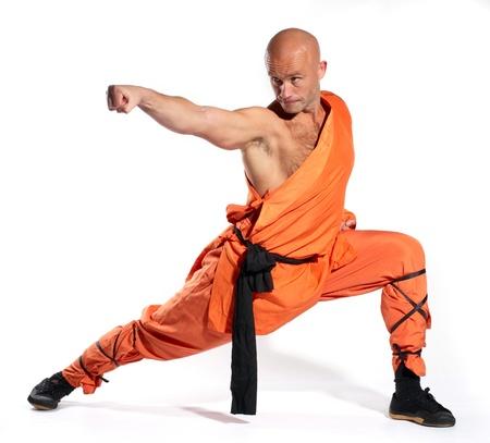 Shaolin warriors monk on white background photo