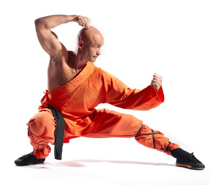 Shaolin warriors monk on white background photo