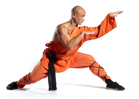 Shaolin warriors monk on white background