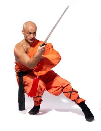 Shaolin warriors monk on white background