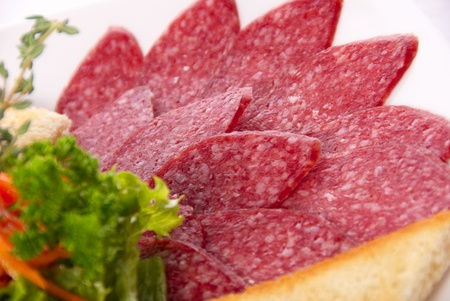 salami slicing macro shot Stock Photo - 9201897