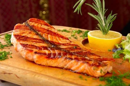 grilled salmon steak macro photo