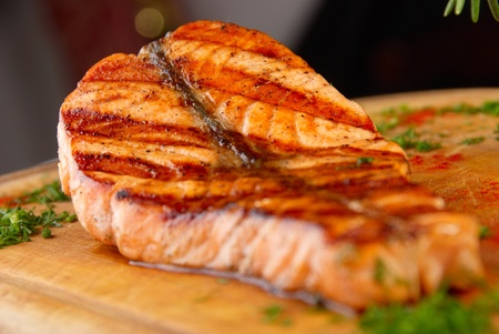 grilled salmon steak macro Stock Photo - 9232486