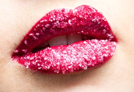 Shugar red lips close-up Stock Photo - 9232499