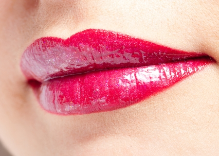 Smile red lips close-up shot Stock Photo - 9232454