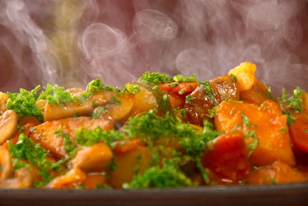 Appetizing hot ragout with vegetables and meat