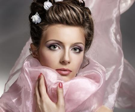 Young beautiful woman face