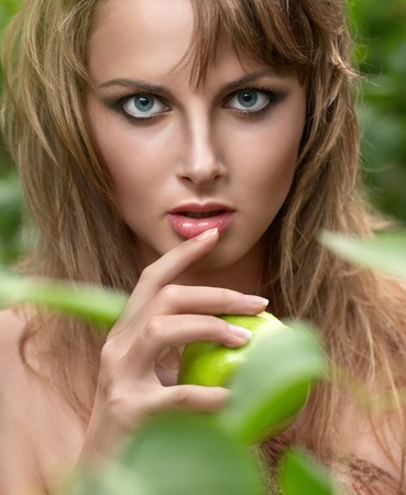 Close-up portrait of sexy caucasian young woman with beautiful blue eyes Stock Photo