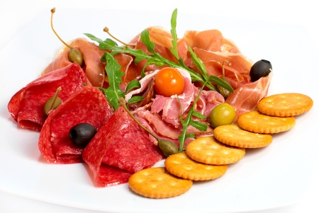 snack with salami, bacon and smoked meat Stock Photo - 12578615