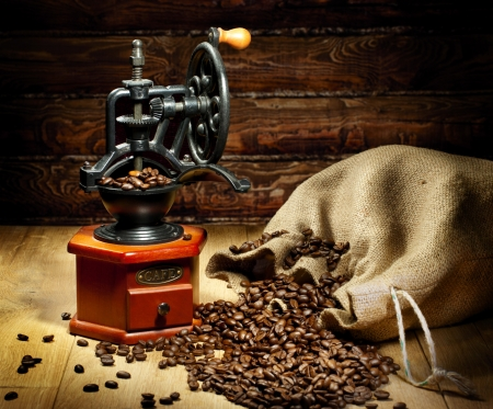 Nice view of the grinder with coffee beans photo