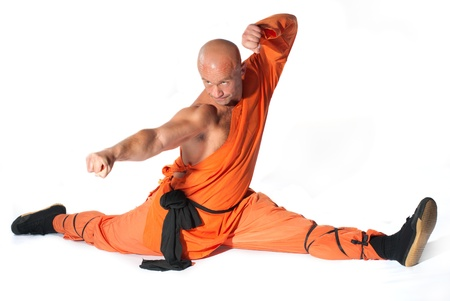 fu: Shaolin warriors monk on white background