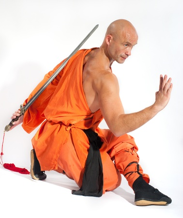 kung fu: Shaolin warriors monk on white background