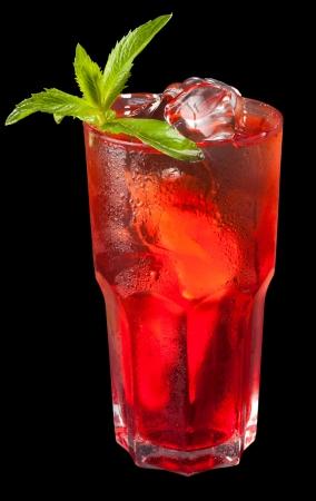 grenadine: ice tea with citrus and grenadine on black
