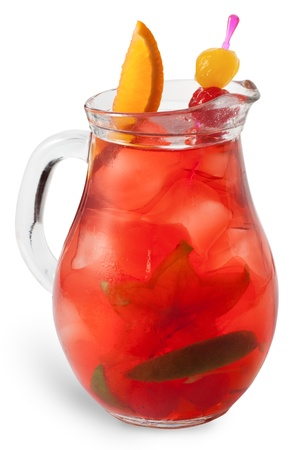 Refreshing sangria (punch) isolated on white background