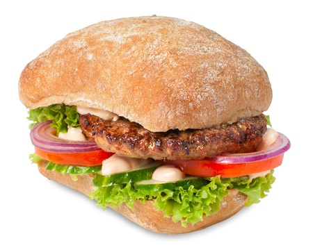Sanwich with hamburger and vegetables