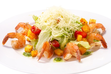 caesar salad: Caesar Salad with Seafood  Comprises Romaine Salad Leaf and Croutons Dressed with Parmesan Cheese