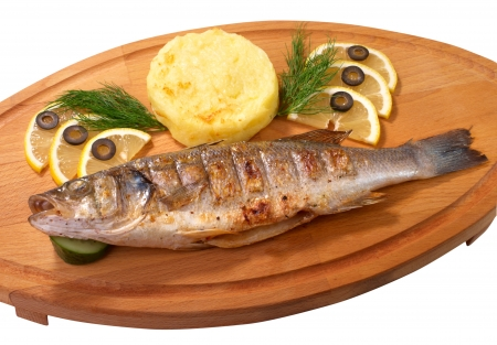 Grilled sea bass fish with potato photo