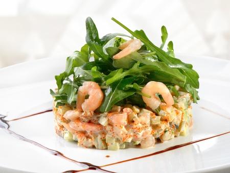 seafood salad with arugula leaf