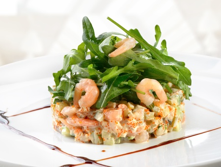 seafood salad with arugula leaf