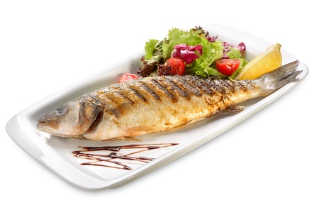 seabass grilled with salad