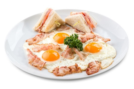 traditional breakfast of scrambled eggs and sandwiches