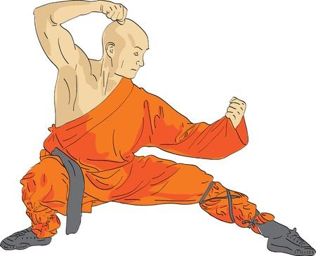 Shaolin warrior monk vector illustration Illustration