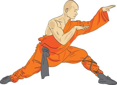 Shaolin warrior monk vector illustration Vector