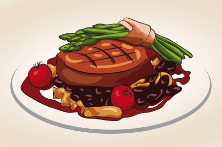 grilled steak with vegetable illustration Vector