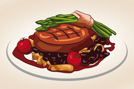 grilled steak with vegetable illustration Ilustração