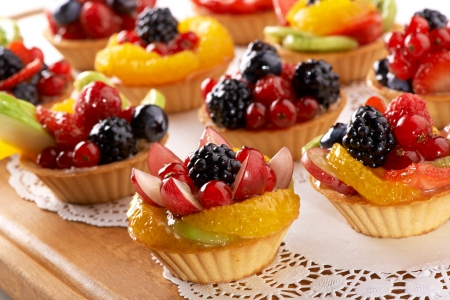 marzipan: beautiful baking with berries and fruits  Stock Photo
