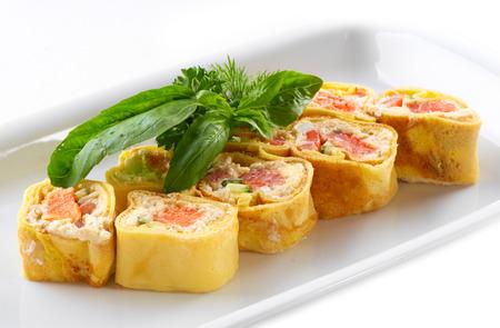 Delicious pancakes with salmon