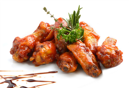 hot wings: Chicken wings with barbeque sauce