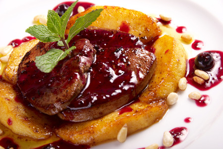 wine sauce:  foie gras with berry sauce