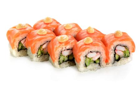 sushi roll on white background