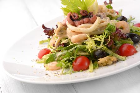 seafood salad, softfocus shot, outdoor