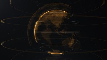 Particella astratta. Pianeta dorato, arancione all'interno di quello velato, fatto di punti. Dackdrop nero totale. Piccoli puntini bianchi sullo sfondo. Sfera.