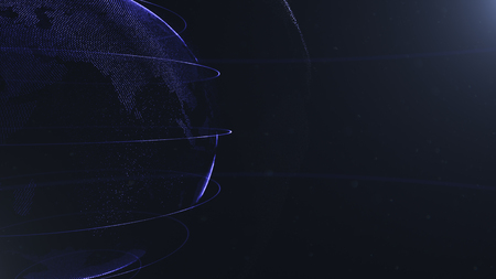 Abstract sphere. Crop photo. Connected navy blue dots with lines. Globalization interface. Planet is situated on the left side. Stock fotó