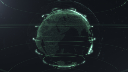 Futuristic sphere of dots. Globalization interface. Sense of science and technology abstract graphics. 3D rendering. Green loops around sphere. Sidepieces of the planet are glowing and sparking. 写真素材