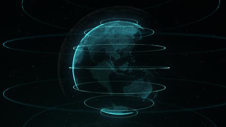 Kula streszczenie. Połączone białe kropki z błękitnymi liniami i płytką głębią ostrości.