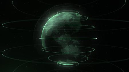 Futuristische Punktkugel. Globalisierungsschnittstelle. Sinn für Wissenschaft und Technologie abstrakte Grafiken. 3D-Rendering. Grüne Schleifen um die Kugel.