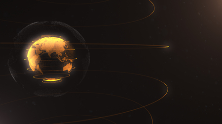 Abstract particle. Golden, orange planet inside the white veilted one, created of dots. Total black dackdrop. Little white dots on the background. Sphere. Planet is situated on the left side.