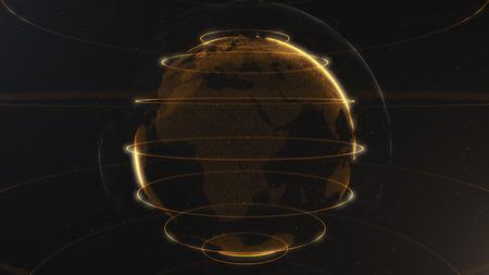 Particella astratta. Pianeta dorato, arancione all'interno del ciclo velato, creato da punti. Dackdrop nero totale. Piccoli puntini bianchi sullo sfondo. Sfera. Archivio Fotografico