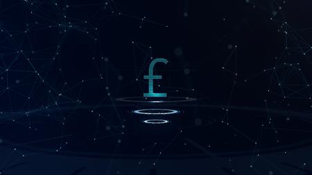 Signe de devise bleu de l'espace. Livre sterling britannique. Monnaie internationale.