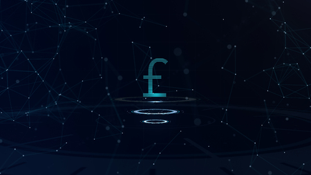 Space blue Currency sign. Britain Pound Sterling. International currency. Stock Photo