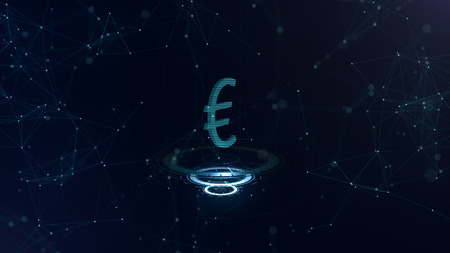 A superb 3d Euro sign. Space blue cyberspace backdrop with internet connections. Euro currency is on three virtual glowing circles. Plan, top view.